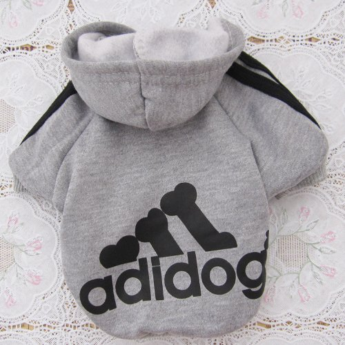Tzou Adidog Hoodie Pet Clothes Dog Sweater Puppy Sweatshirt Warm Small Coat Christmas Gift 1-pc Set (Grey)
