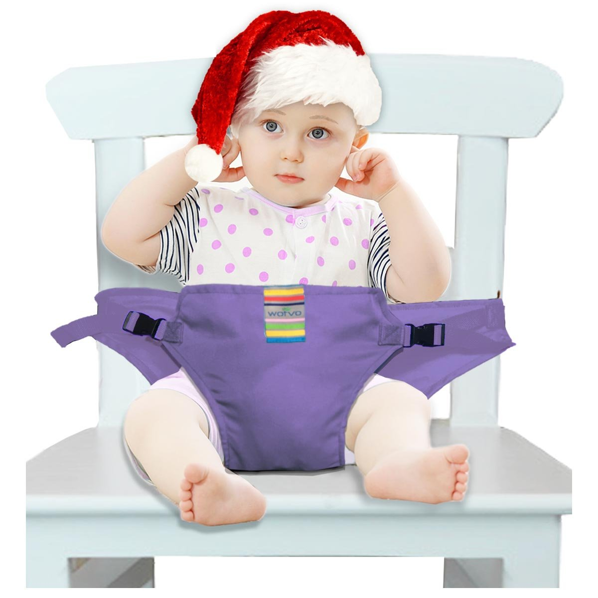 The Washable Portable Travel High Chair Booster Baby Seat with Straps Toddler Safety Harness Baby Feeding The Strap (6 Color) (Purple)
