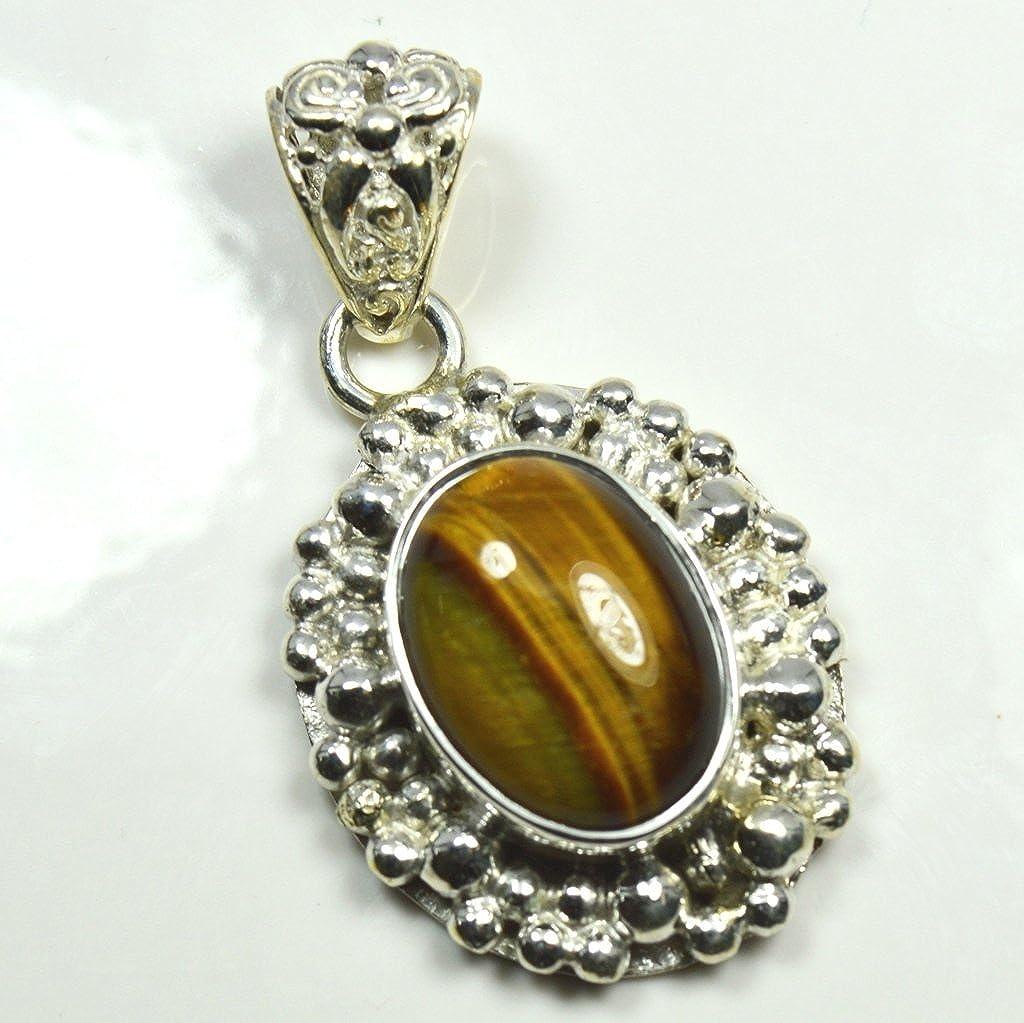 Gemsonclick Natural Tiger Eye Oval Shape 925 Sterling Silver Pendant