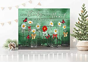 Butterflies Christmas Canvas Give thanks with a grateful heart Wall Art Decor 0.75 Inch Frame Canvas Art Gifts For Christmas, Birthday, Valentine's Day Thanksgiving Canvas Home Decor (16 in x 24 in)