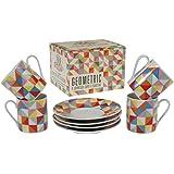 Set Of 4 Porcelain Espresso Cups & Saucers - Choice Of Design ( Multicolour Geometric )