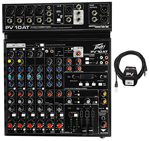 Package: Peavey PV 10AT PV10AT Mixer With 4 Mic In, Bluetooth, USB, Compressor/Effects + 2 Channel AutoTune + Peavey PV 20' XLR Female to Male Low Z Mic Cable