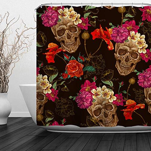 "Baccessor Skulls Shower Curtain Sugar Roes Flowers Skull Skeleton Halloween All Saints Day Black and White Waterproof Bathroom Decor with hooks,72""W x 72""H (180CM x 180CM) - Skulls and Poppy Flowers"
