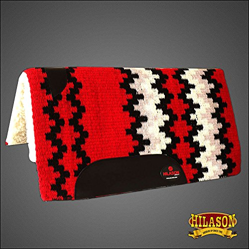 HILASON Made in USA Western Wool Gel Saddle Blanket PAD RED Black White