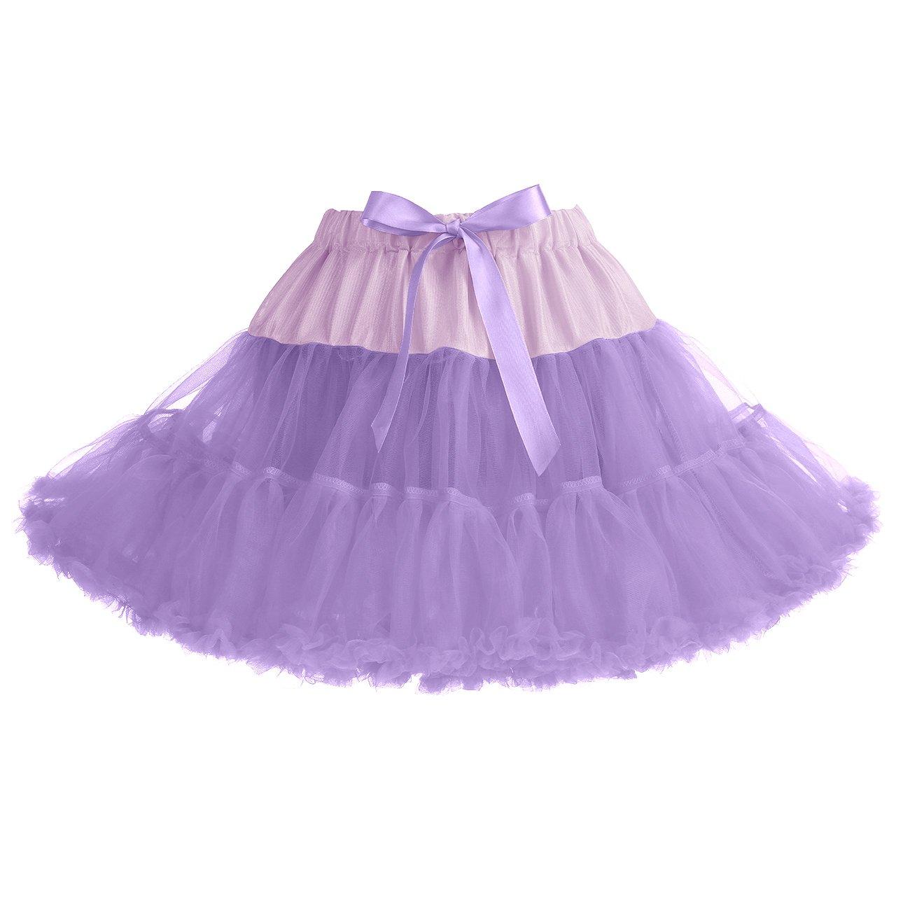 IVNIS RS90010 Women's Petticoat Tutu Skirt 2 Layered Ballet Dance Pettiskirt Mini Skirt Lavender S by IVNIS (Image #1)
