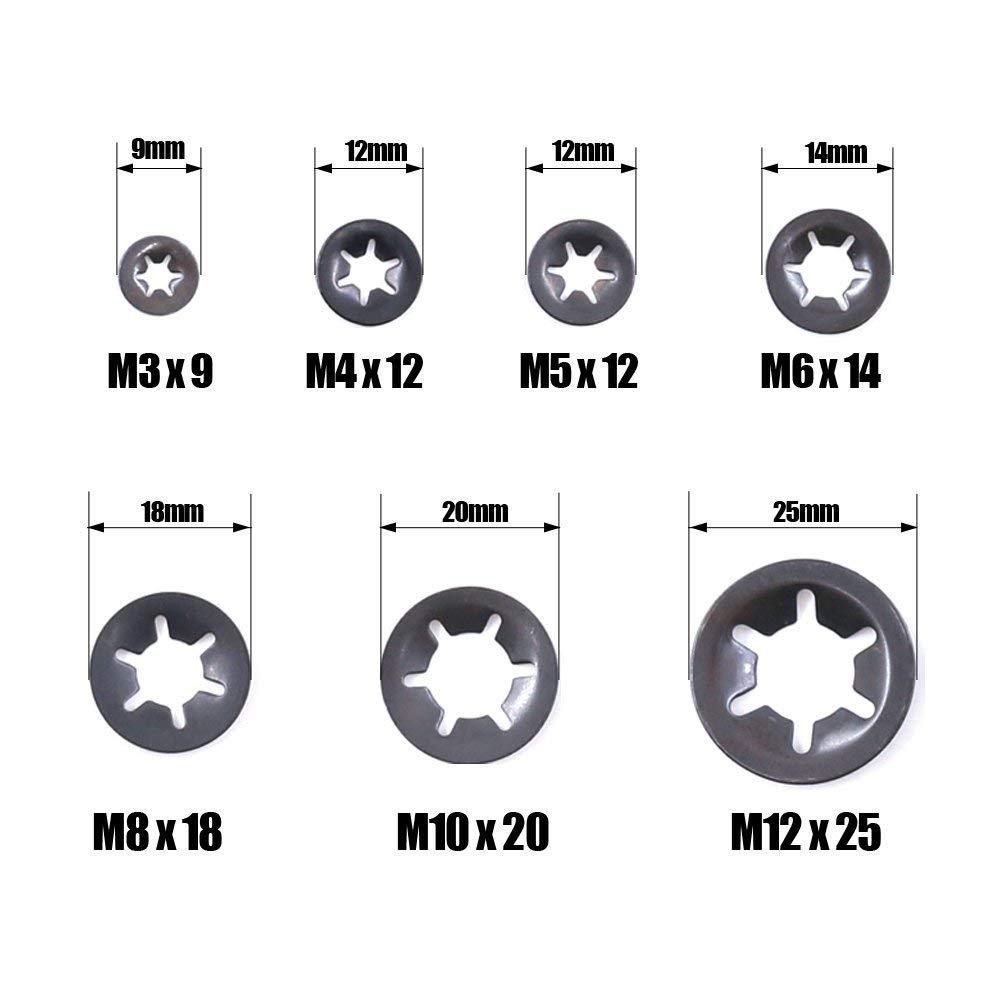 acabado de /óxido negro M4 M6 500 arandelas de bloqueo interno de dientes M3 M10 y M12 M8 m/étricas M5 7 tama/ños cierre de bloqueo de velocidad r/ápida surtido con una funda de transporte