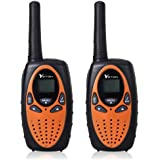 YETION Walkie Talkies for Kids 22 Channel Two Way Radios UHF Long Range Built-in Microphone Hand Free Toy Walkie Talkie for Children (Orange)