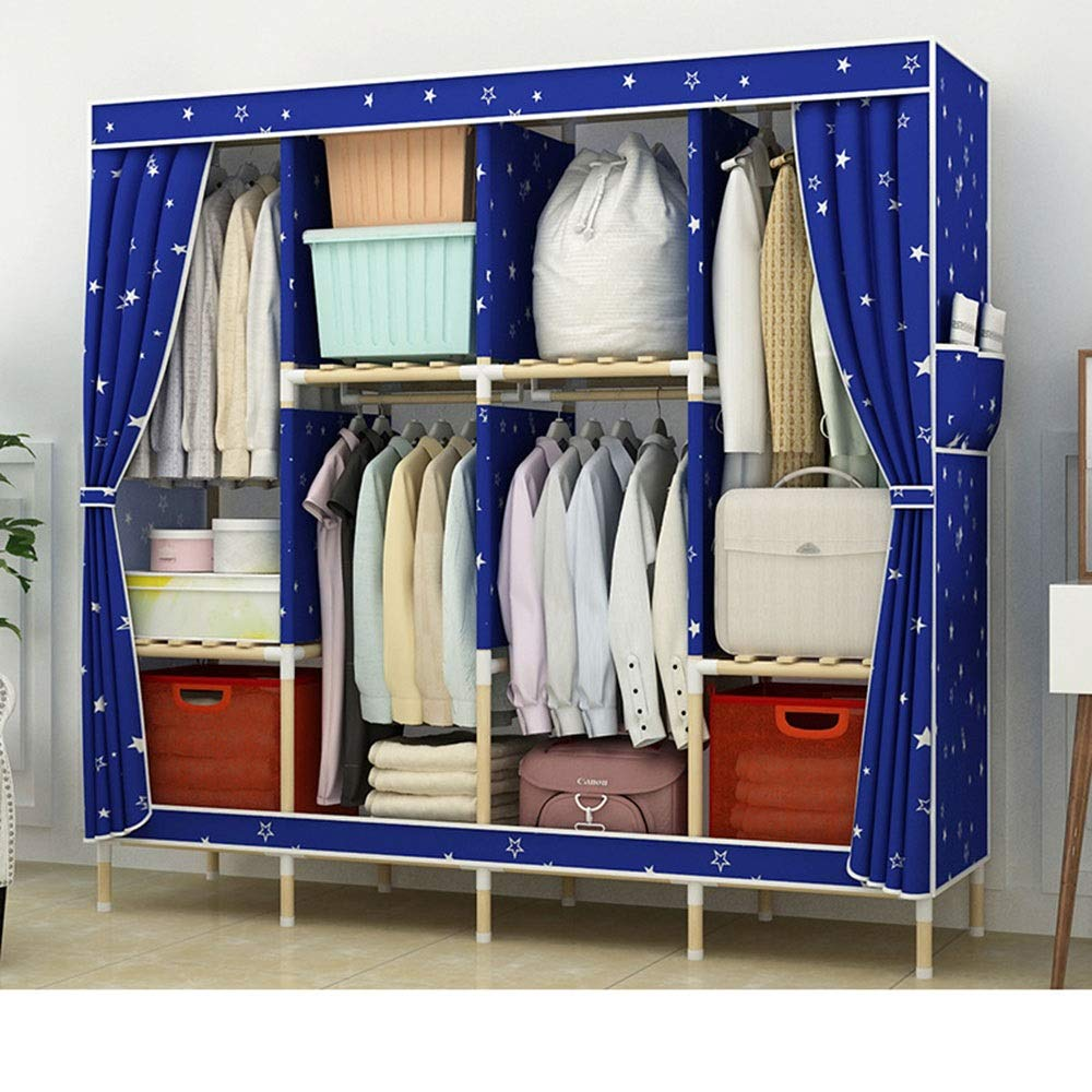 PPKQ Portable Closet Wardrobe Storage Organizer Closet Clothes 4 Side Pockets for Books, Toys, Towels (170x170x45) (Color : B) by PPKQ