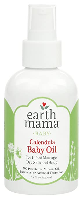 Earth Mama Calendula Baby Oil for Infant Massage 4-Fluid Ounce