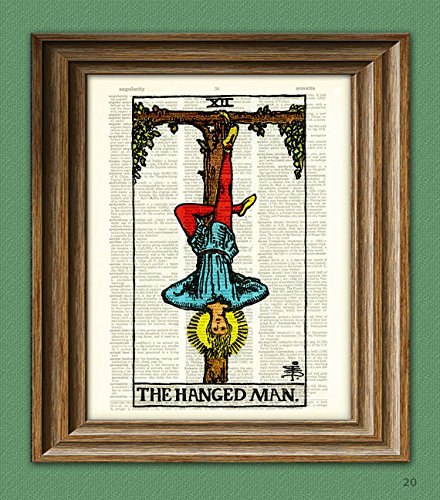 The Hanged Man Major Arcana Tarot Card print over an upcycled vintage dictionary page book art - Antique Print Card