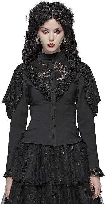 Punk Rave - Blusa para mujer, manga gótica Big V Hollow-Out, punta en el pecho, camisa negra, camisa victoriana, sexy, fiesta: Amazon.es: Ropa y accesorios