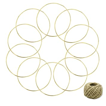 Coceca 10 Stück 15 cm 6 Zoll Golden Metall Ringe Hoops Makramee ...