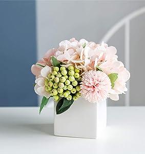 LADADA Artificial Hydrangea Flower Arrangement in Ceramic Vase and Vase Home Decoration Artificial Flower (Pink)