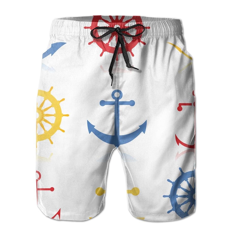 1847f8380ed4eb Xush Rudder and Anchor Man s Casual Printing Quick Dry Tropical Athletic  Board Swim Trunks Beach Shorts