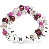 Artemlos ® fait-main pour enfant avec nom et handynummer bracelet en acier inoxydable et perles