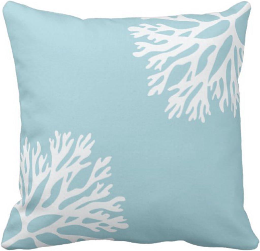Emvency Throw Pillow Cover Hue Sea Coral Silhouettes Light Blue Decorative Pillow Case Home Decor Square 20 x 20 Inch Pillowcase