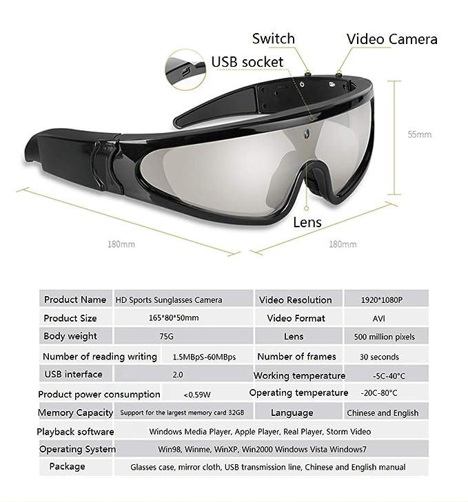 YLOVOW Gafas de Sol Impermeables para Exteriores, cámara de ...