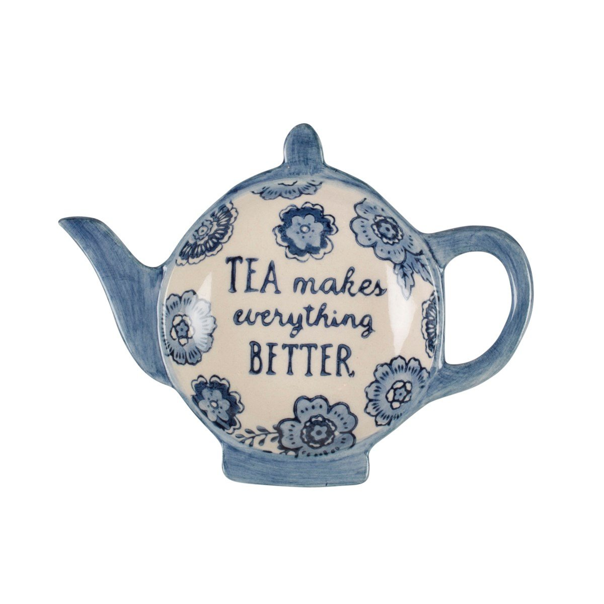 Blue Floral Tea Lovers Tea Bag Dish Sass and Belle