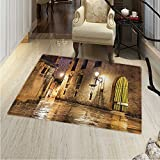 Gothic Rugs Bedroom Gothic Ancient Stone Quarter Barcelona Spain Renaissance Heritage Night Street Photo Circle Rugs Living Room 4'x5' Cream