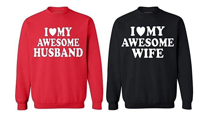 aaaf2cba55 Awkwardstyles Matching Couple Love My Awesome Husband Wife Crewnecks Red Black  Men Large/Ladies Small