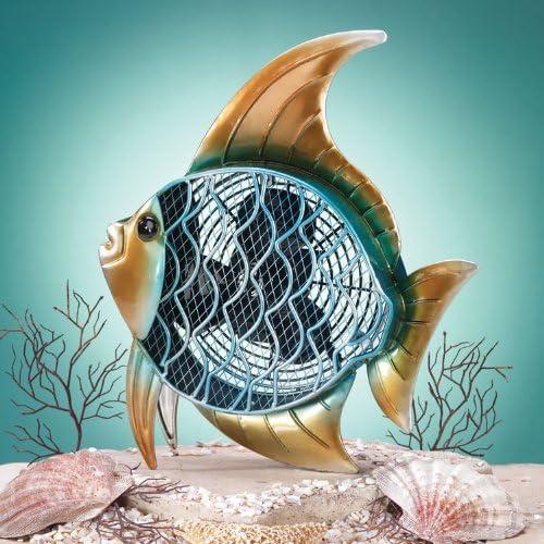 Tropical Angel Fish Table Top Figure Fan