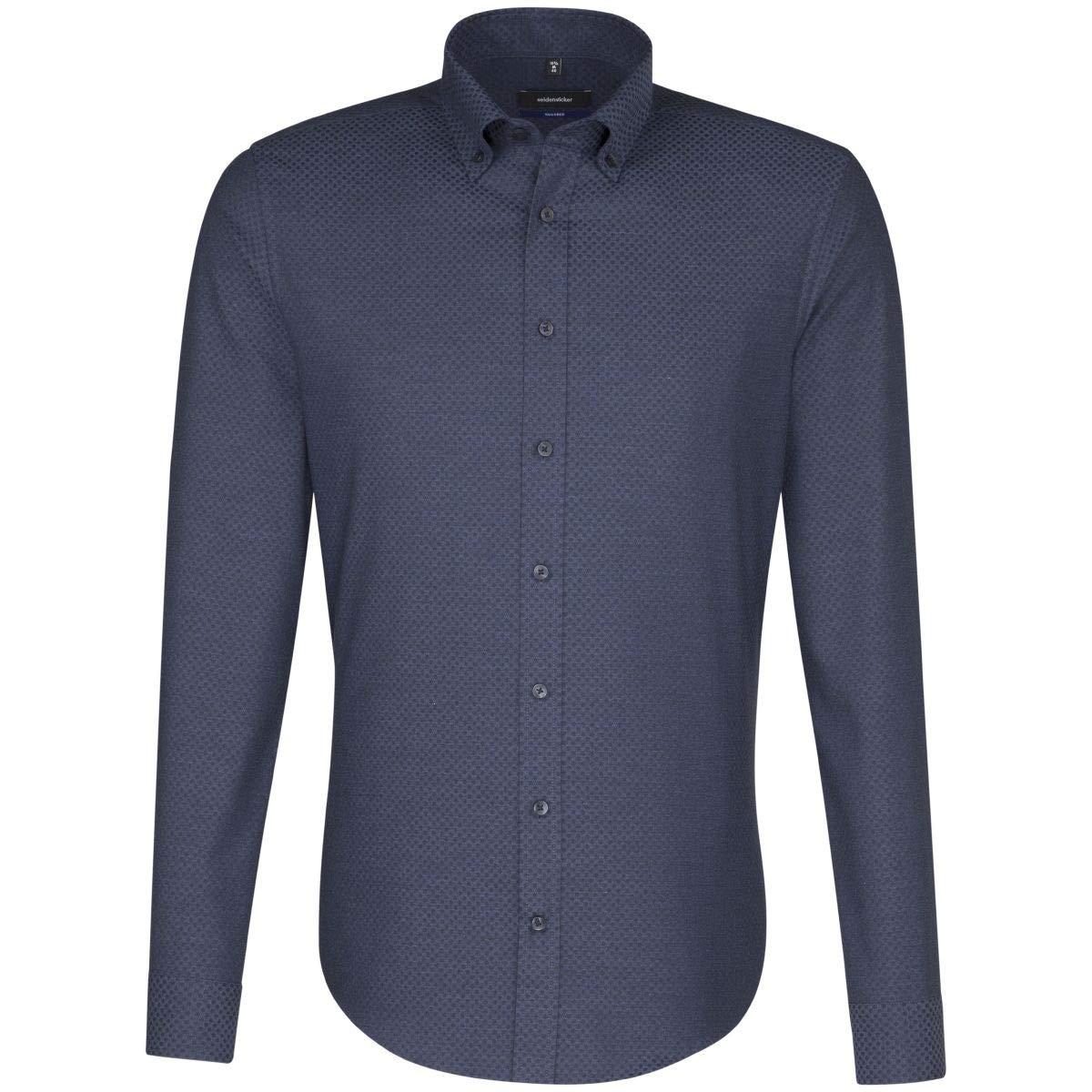 TALLA 40. Seidensticker Camisa Formal - Cuadrados - con Botones - Manga Larga - para Hombre