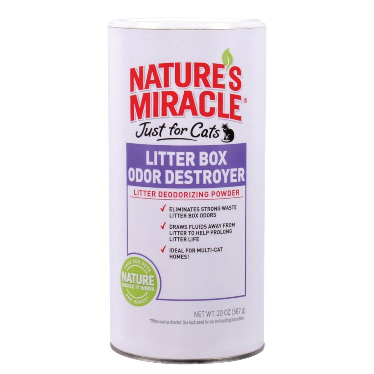 Nature's Miracle Just for Cats Litter Box Odor Destroyer Powder 20 oz Pack of 4