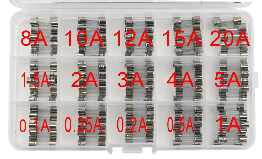 UCTRONICS 15 Values 150pcs Fast-blow Glass Fuses Assorted Kit 5x20mm 250V 0.1 0.2 0.25 0.5 1 1.5 2 3 4 5 8 10 12 15 20A Tube Fuses with Plastic Box