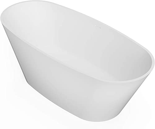ADM Large Oval Stone Resin Freestanding Bathtub 71.7″