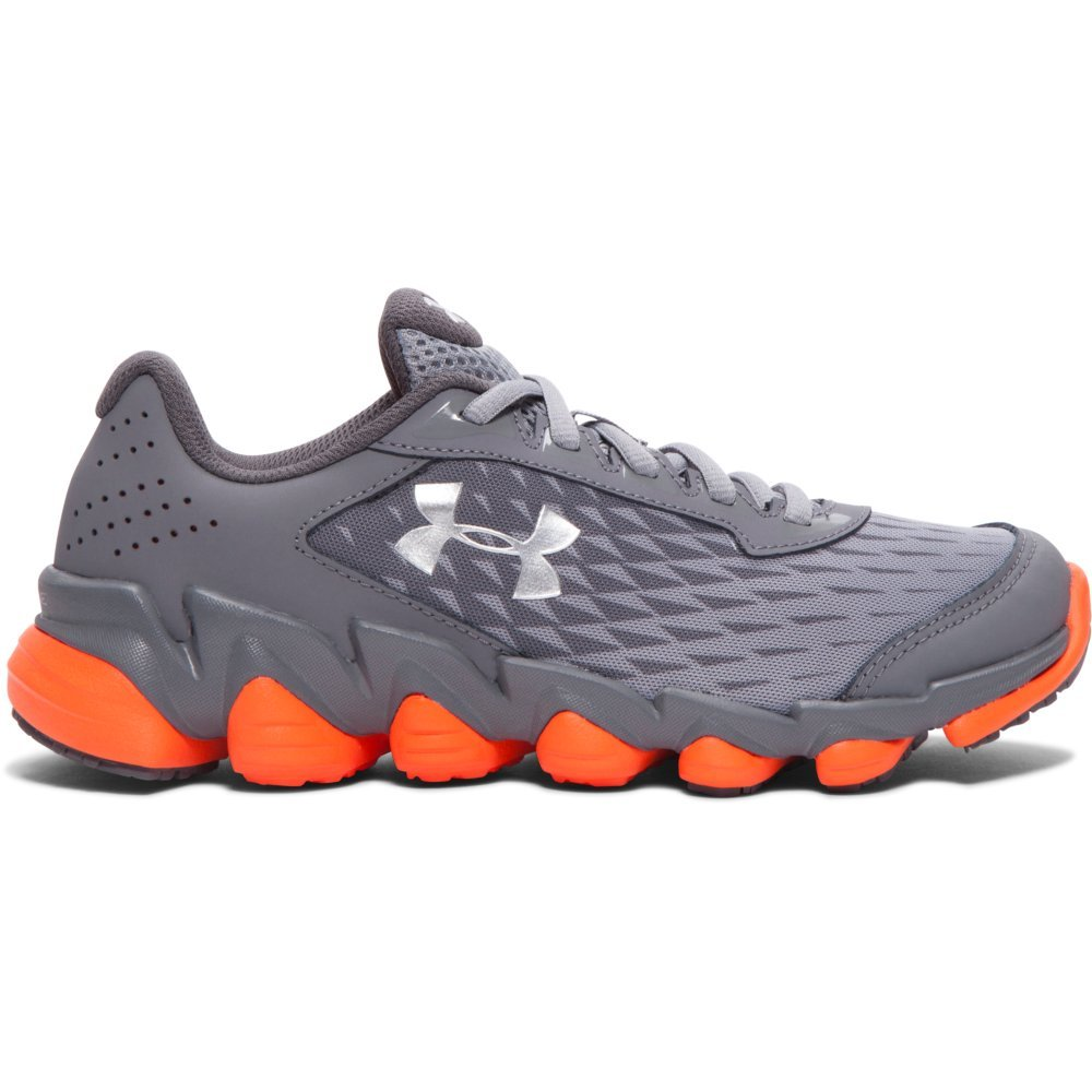 Boy's Under Armour Micro G Spine Disrupt Running Shoe Steel/Orange/Metallic Silver Size 5 M US