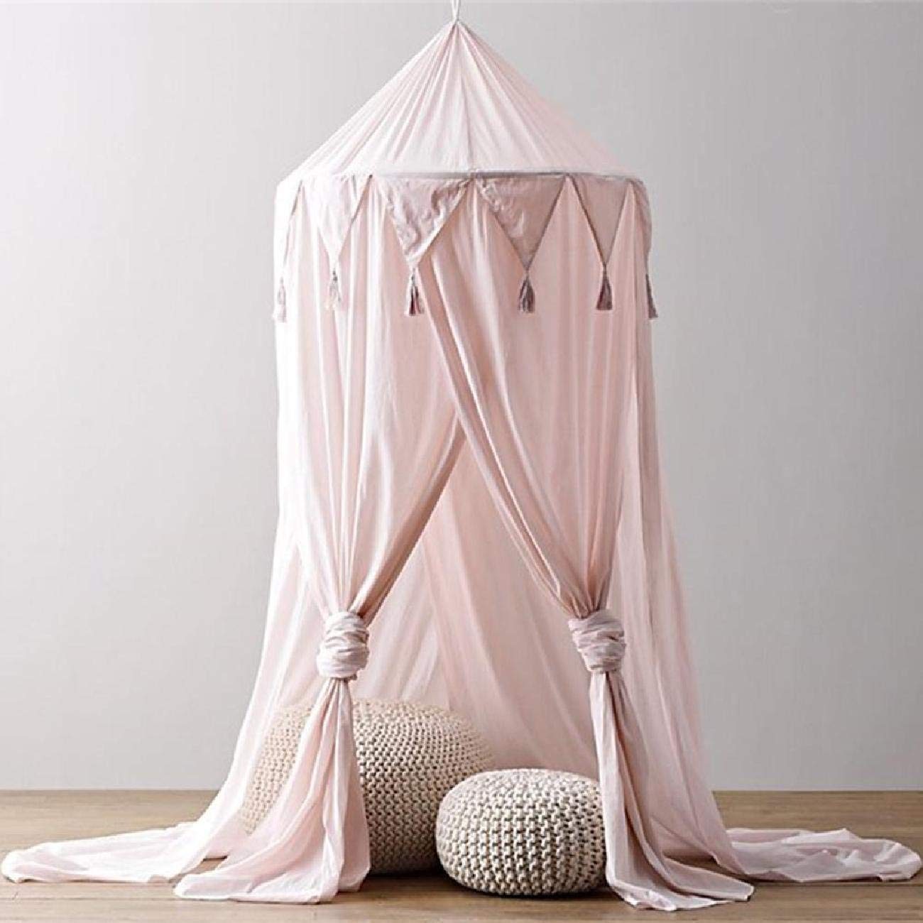 Bed Canopy, Chiffon Reading Nook Tent Dome Triangle Tassel Net with Assembly Tools Bedroom Decoration Indoor Game House for Kids (Pink)