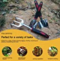 ESOW Garden Tool Set, 3 Piece Cast-Aluminum Heavy Duty Gardening Kit Includes Hand Trowel, Transplant Trowel and Cultivator Hand Rake with Soft Rubberized Non-Slip Ergonomic Handle, Garden Gifts