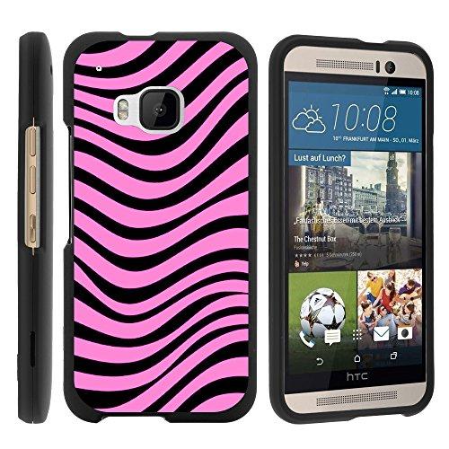 MINITURTLE Case Compatible w/ HTC M9 Case, Slim Fit Snap On Cover w/ Unique, Customized Design for HTC One M9 2015 (AT&T, Sprint, T Mobile, Verizon) Pink Zebra