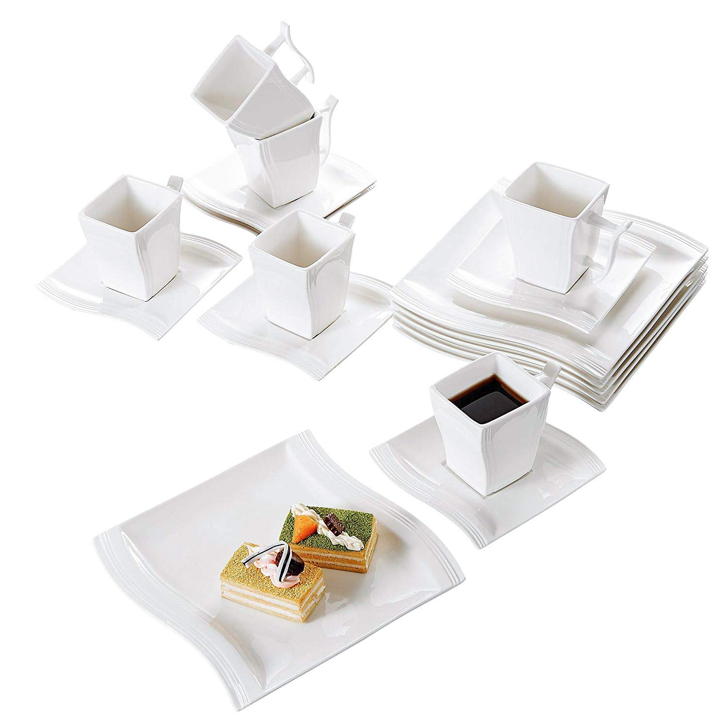 Malacasa 18-Piece Porcelain Teacups and Saucer Set with Coffee Cup Set Dessert Plates and Saucers Service for 6, Ivory White - Series Flora by Malacasa (Image #1)