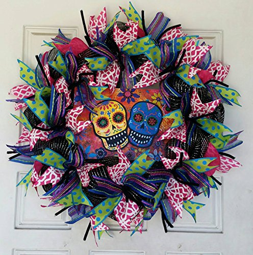 ONLY $45 What??!! Handcrafted Day of the Dead Sugar Skull Halloween Deco Mesh Wreath Decor, Dia De Los Muertos