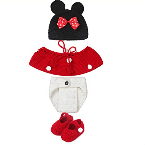 bde72f90fea NEEVAS Baby Infant Newborn Mouse Knit Costume Photography Prop Crochet  Beanie Hat Cap  Amazon.ca  Clothing   Accessories