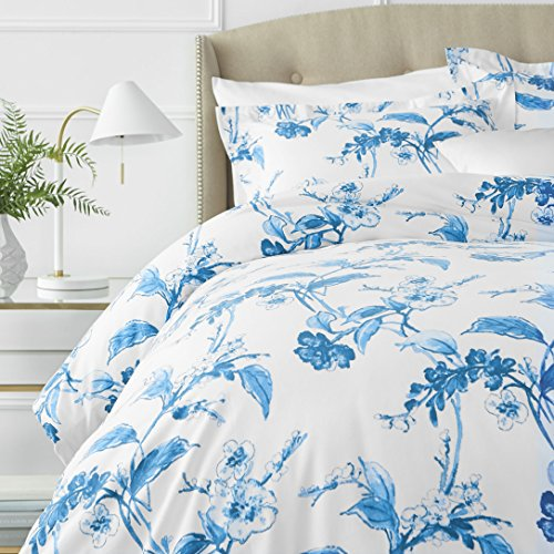 Pinzon Signature 190 Gram Cotton Heavyweight Velvet Flannel Duvet Comforter Cover Set, Full / Queen, Floral Smoky Blue