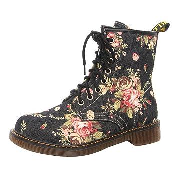 Mujer Botines Ankle Boots - hibote 2017 Mode Flores Otoño Invierno Guantes redondas Martin Botas, mujer, negro, 40: Amazon.es: Deportes y aire libre