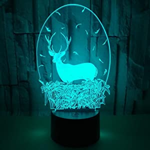 Xdorra Christmas Deer Acrylic 3D Night Lights USB LED Table Lamp Home r2d2 3D Arts Lamp - 7 Colors Changing Bedroom Decor Night Light Gifts (Deer Head)