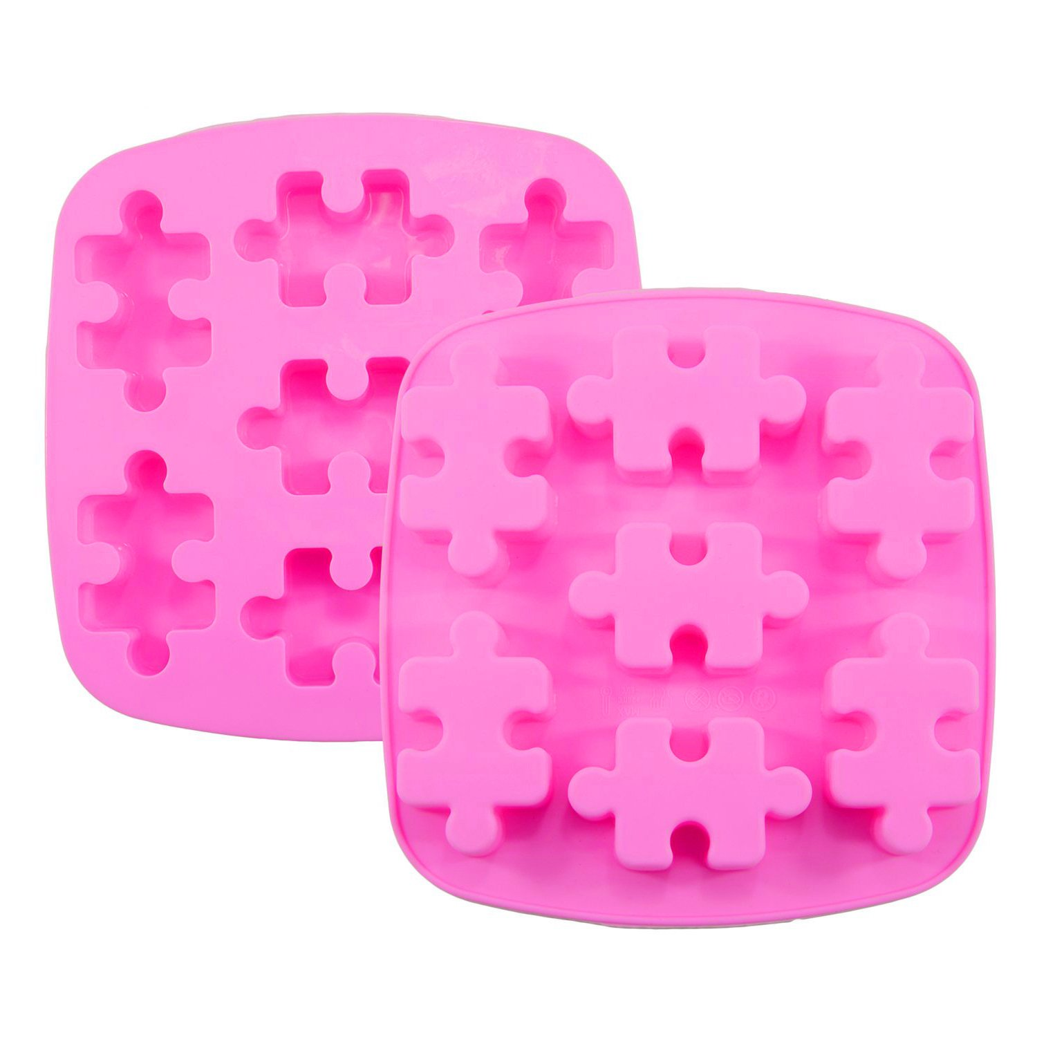 Himi Puzzle Piece Mold Puzzle Crayons Maker - Set of 2 - Non-stick Heat Resistance Silicone Puzzle Mold Perfect for Wax Samples, Chocolate, Jello shots, ...