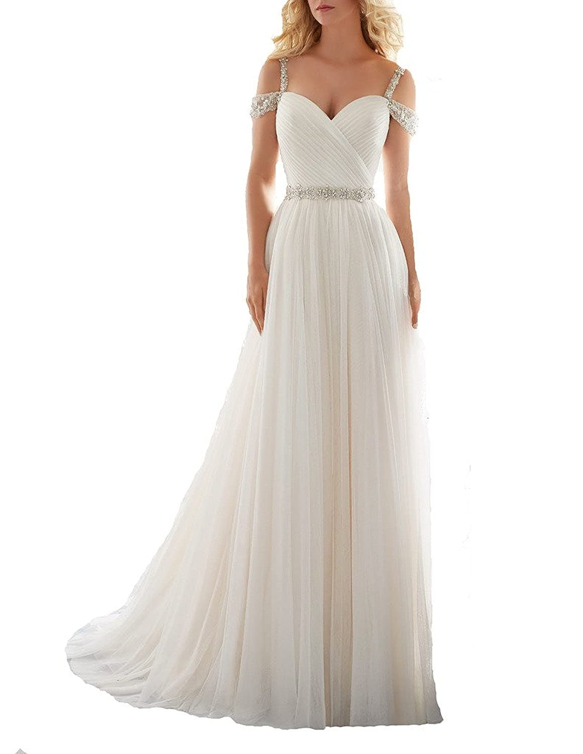 a0071d2188c 2016 A-line Elegant Beach Chiffon Wedding Dresses with Sash Off the Shoulder  Beaded Bridal Gown for Summer Weddings Fabric  Tulle.