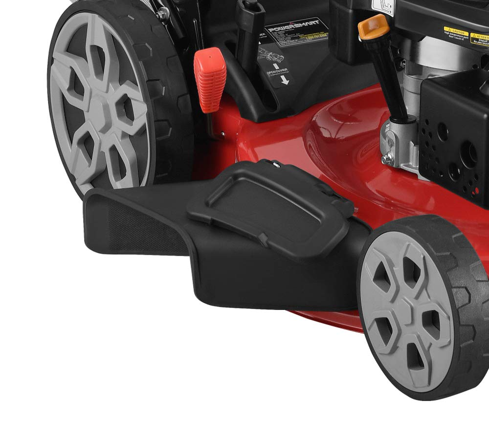 """Powersmart db2322s 22"""" 3-in-1 196cc gas self propelled lawn mower 6 powered by 196 cc engine delivering the right amount of power in a compact, lightweight package easy pull starting 3-in-1 bag, side discharge and mulching capability allows you to spread grass clippings to the side, returning key nutrients to your lawn so your grass can grow healthy and thick"""
