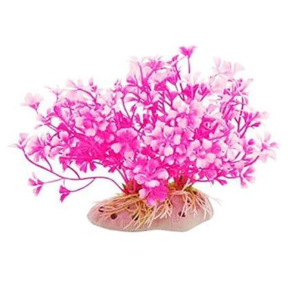GOOTRADES 2 Pcs Rosa Acuático Enano Plástico Flores Adorno Pecera Tanque Peces Pecera Tanque