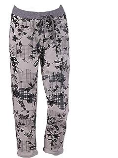 fdc601c79e0 LushStyleUK New Ladies Italian Floral Print Cotton Joggers Women Waist Belt Trouser  PlusSize