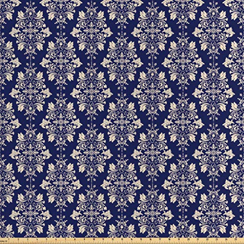 Lunarable Royal Blue Fabric by The Yard, Classic Baroque with Oriental Inspired Effects Floral Damask Ornate Image, Decorative Satin Fabric for Home Textiles and Crafts, 3 Yards, Violet Blue Beige
