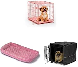 24-Inch Pink Single Door iCrate with Fleece Bed and Cover
