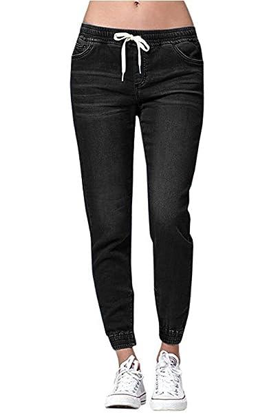 Amazon.com: Chimikeey - Pantalones vaqueros elásticos con ...