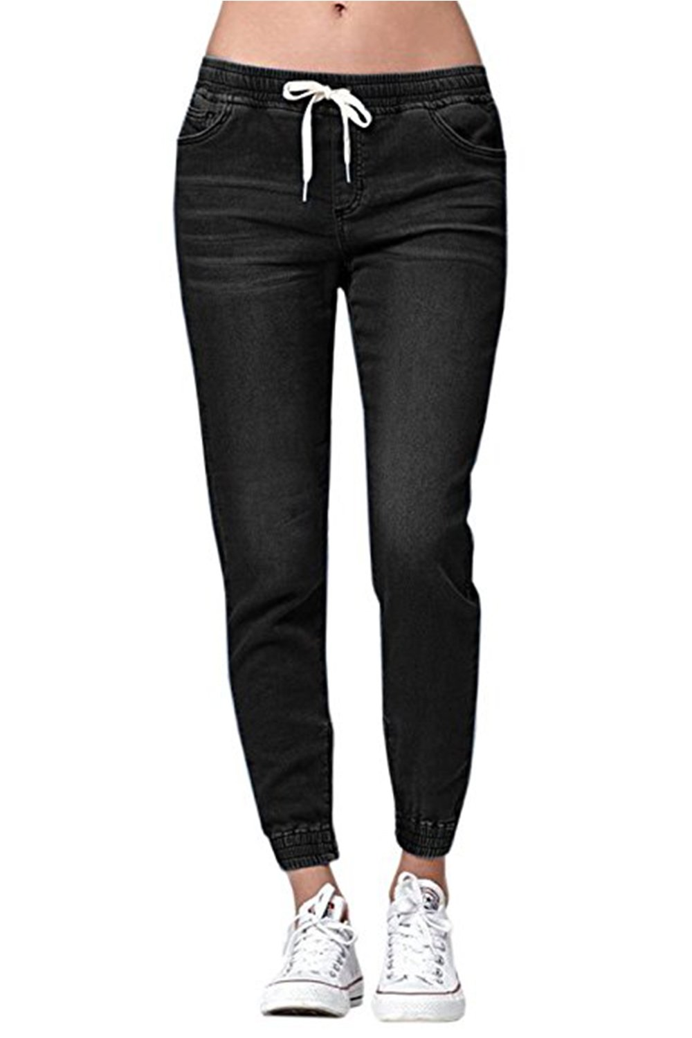 Womens Jogger Denim Jeans Elastic Drawstring Waisted Stretchy Classic Pants