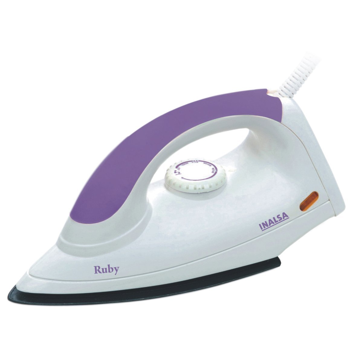 Inalsa Ruby 1000-Watt dry iron with Non-Stick Coated Soleplate(Warranty: 2 Years),White and Purple