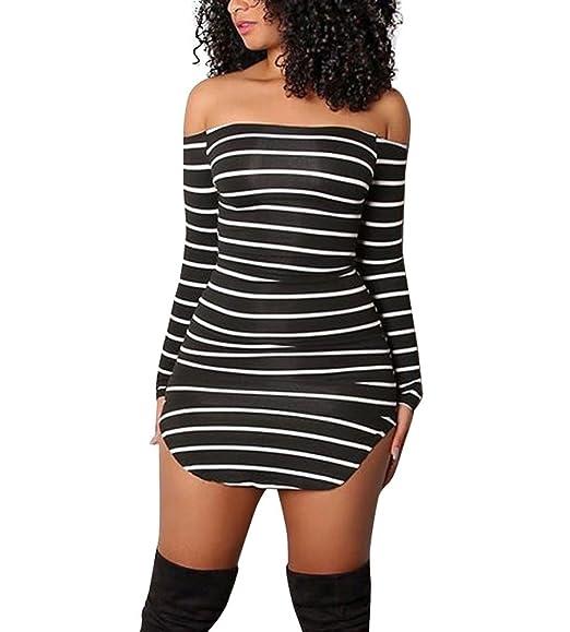 Women Sexy Black White Striped Off Shoulder Bodycon Party Mini Dress